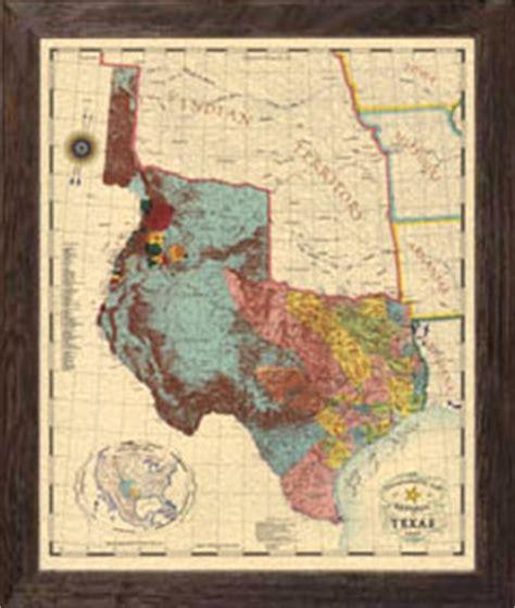 framed texas map maps of texas