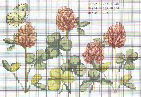 schema punto croce fiori schema di trifoglio a punto croce magiedifilo it punto