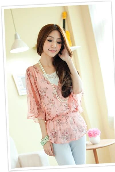 Blouse Pink Lovina Baju Kemeja Atasan blouse bl1400 pink tamochi