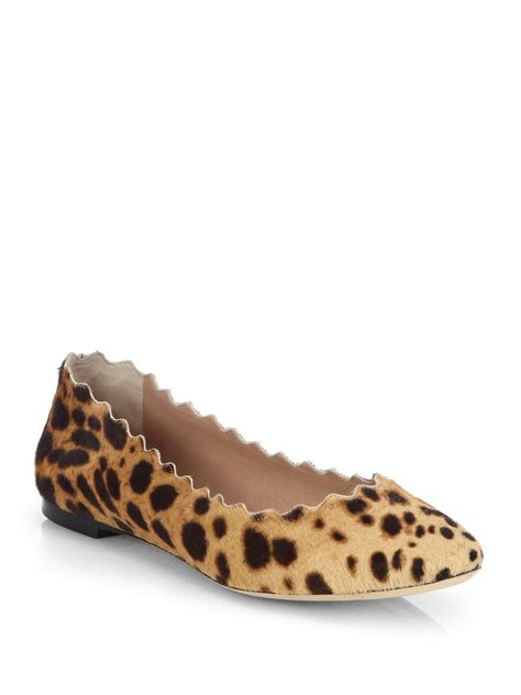 leopard print ballet flats shoes chlo 233 leopardprint calf hair ballet flats in animal