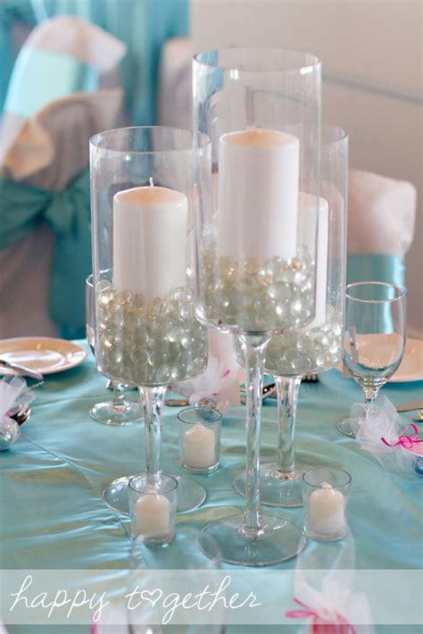 Wedding Centerpiece Candles In Glasses With Flat Glass Glass Centerpiece Ideas