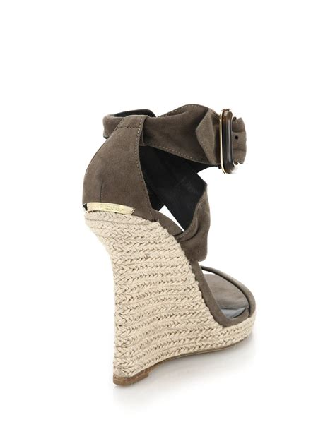 burberry catsbrook suede espadrille wedge sandals in gray
