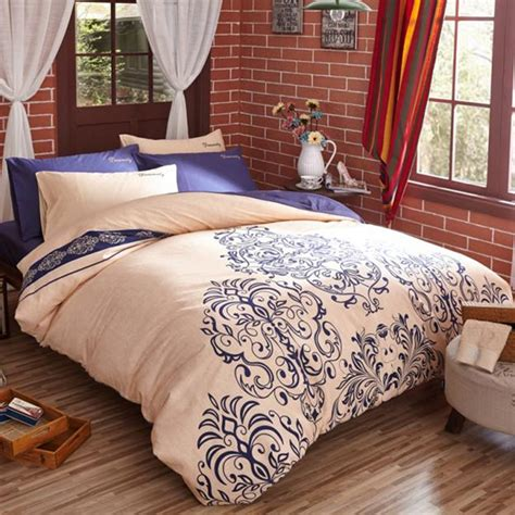 blue and beige bedding beige blue bedding set 4pcs cotton duvet cover set bed