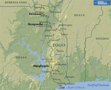 physical map of togo geography togo and climate change