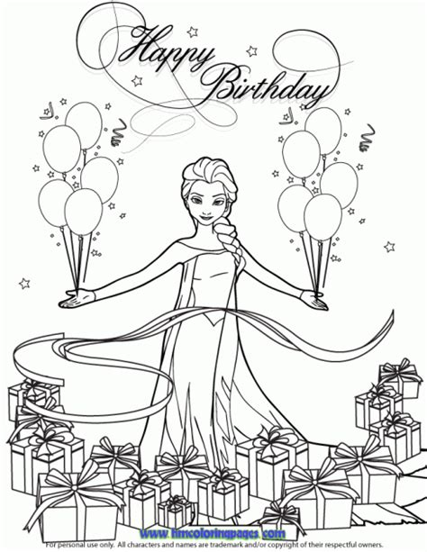 coloring pages frozen birthday snow queen elsa with balloons and gifts coloring page