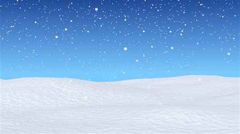 animation for winter white snowy field bright winter blue sky and beginning of snowfall winter snow animated