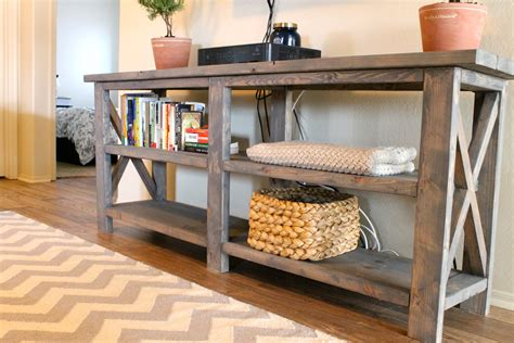 Ideas For Console Table With Baskets Design Vintage Look Rustic Wood Console Table With Rattan Basket Storage And Bookshelf Made From