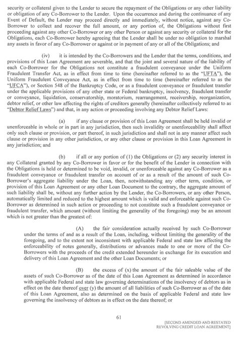 Section 548 Of The Bankruptcy Code by Second Amended And Restated Revolving Credit Loan
