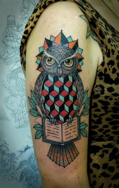 tattoo owl geometric geometric owl arm tattoo by tyago compiani tattoomagz
