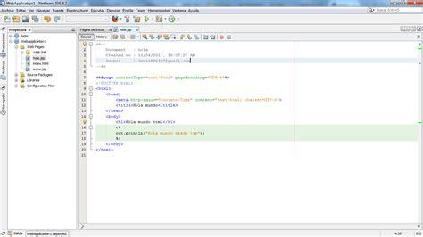 jsp tutorial in netbeans programaci 243 n0011 hola mundo en jsp con netbeans