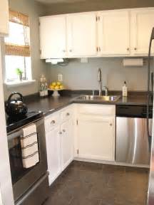 Kitchen White Cabinets Gray Walls Grey Laminate Countertops Transitional Kitchen Sherwin Williams Sensible Hue Freckles