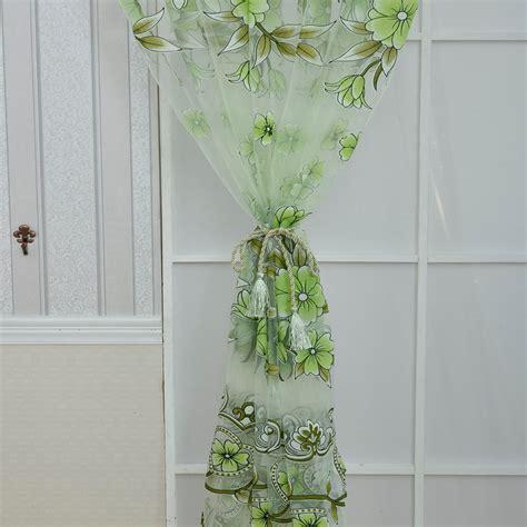 drape pattern 2pcs offset printing flower pattern voile drape panel