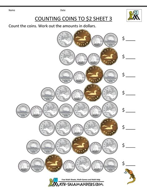 money worksheets for counting canadian coins to 2
