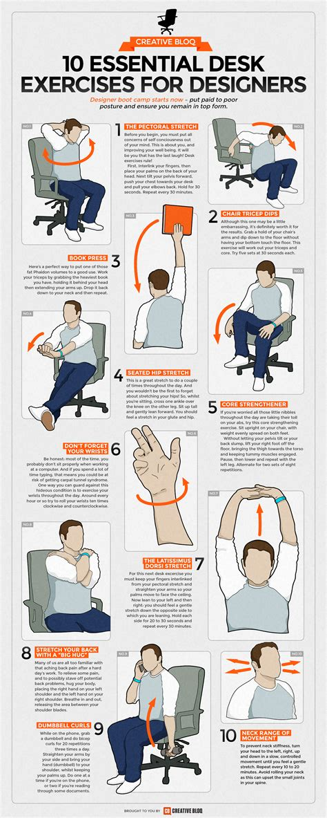 Exercises To Do At The Desk by Desk Exercises Infographic 10 Essential Routines For
