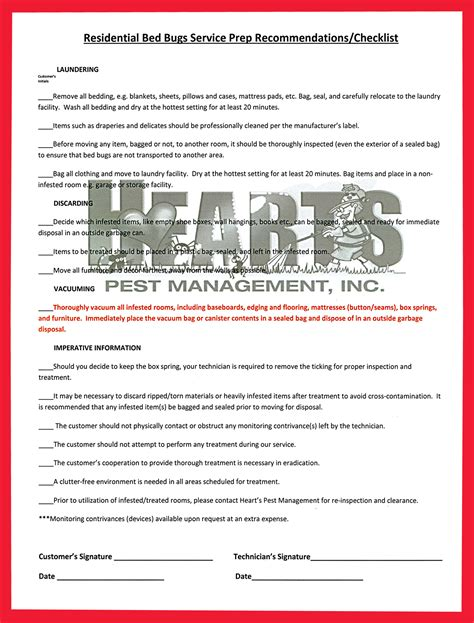 bed bug checklist bed bug checklist for residential bed bug treatment