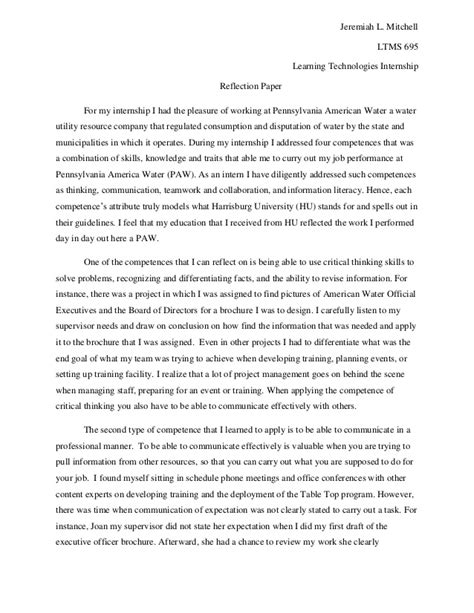 Internship Experience Report Essays by My Reflection Paper