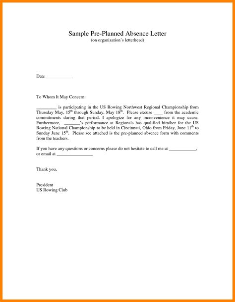Sle Of Absence Letter For College 8 Excuse Letter For Absence In School Fancy Resume