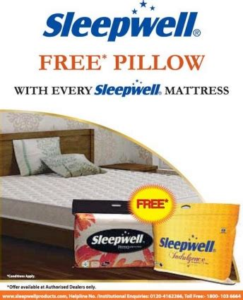sleepwell presents free pillow with every mattress at