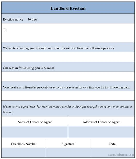 Landlord Eviction Notice Time Landlord Eviction Form Sle Landlord Eviction Form
