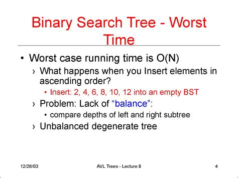 Worst Of Binary Search Tree Avl Trees Lecture 8 презентация онлайн