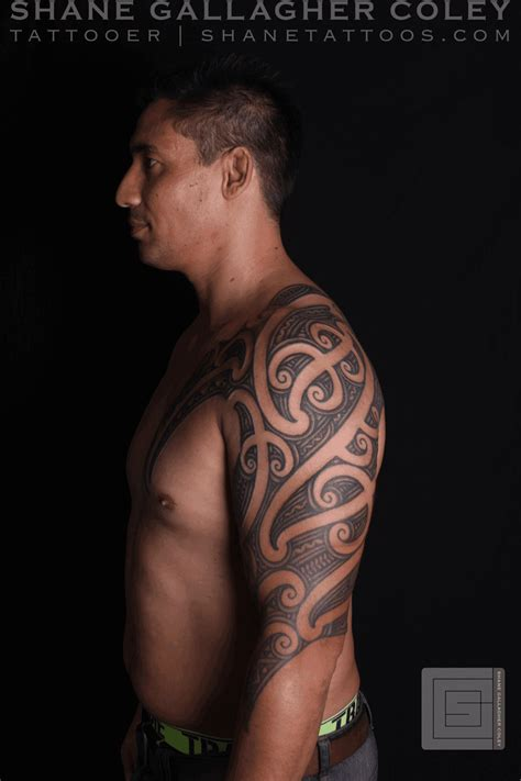 ta tattoo shane tattoos maori sleeve chest ta moko