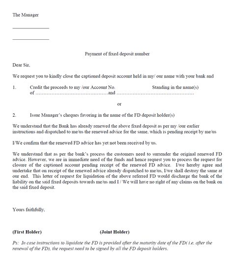 fixed deposit cancellation letter to bank sle letter for premature withdrawal of fixed deposit