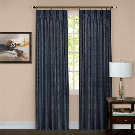 pinched drapes achim sheer windsor navy pinch pleat window curtain panel