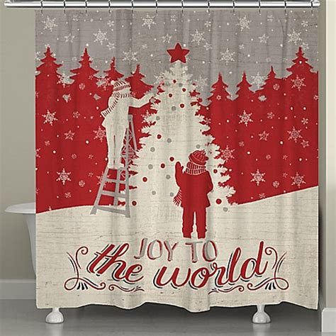 bed bath and beyond christmas shower curtains laural home joy to the world holiday shower curtain in red