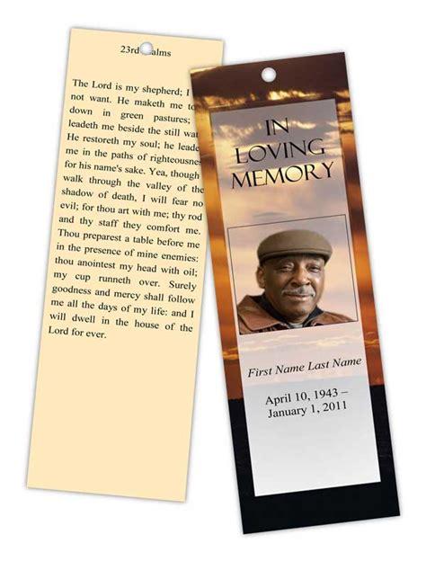 memorial card template sunset funeral program templates memorial bookmark template