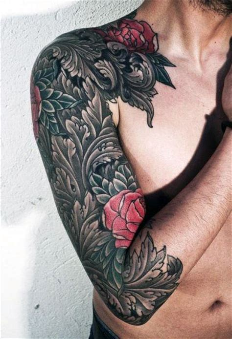 mens rose tattoo sleeves top 100 best sleeve tattoos for cool designs and ideas