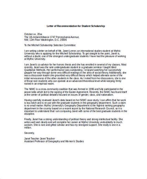 Letter Of Recommendation For Undergraduate Scholarship reference letter for graduate school pdf docoments ojazlink