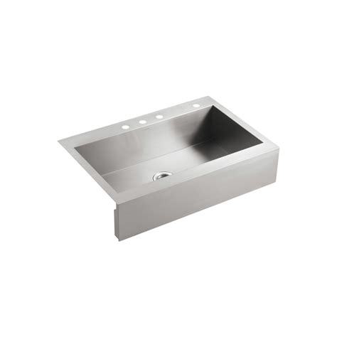 Kohler Stainless Steel Kitchen Sink Shop Kohler Vault 24 3125 In X 35 75 In Single Basin Stainless Steel Apron Front Farmhouse 4