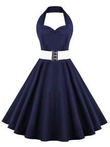 retro halter sweetheart neck ball dress purplish blue m