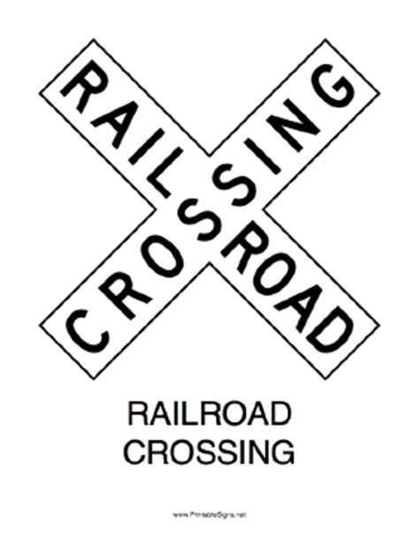 printable railroad signs printable railroad crossing x sign