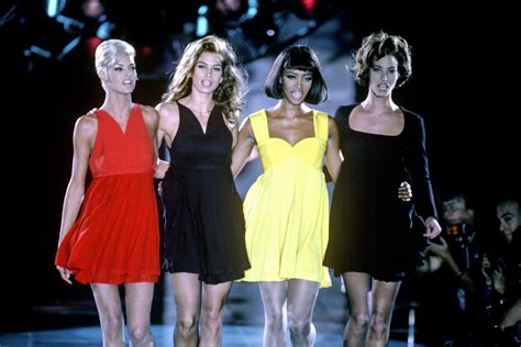 Who Wore Versace Best The Catwalk Model Or Schiffer by The Big 4 And On Gianni