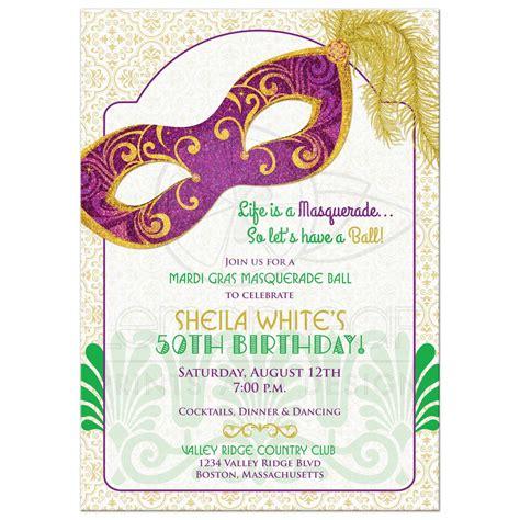 Sweet Designs Kitchen by Mardi Gras 50th Birthday Party Invitation Masquerade Mask