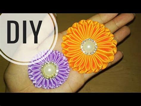 diy cara membuat bros bunga kanzashi flower tutorial