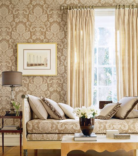 fabric home decor ideas beige damask wallpaper living room