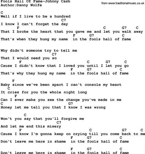 printable lyrics hall of fame country music fools hall of fame johnny cash lyrics and chords