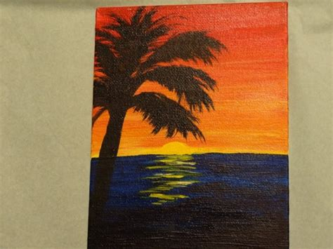 acrylic paint on canvas board acrylic palm tree painting on canvas board 5x7 by