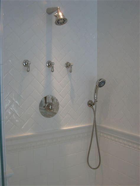 Small Bathroom Ideas On A Budget herringbone subway tile bathroom traditional with 3x6