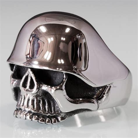 Skull Ring Helmet stainless steel skull ring with ww2 helmet rings biker rings