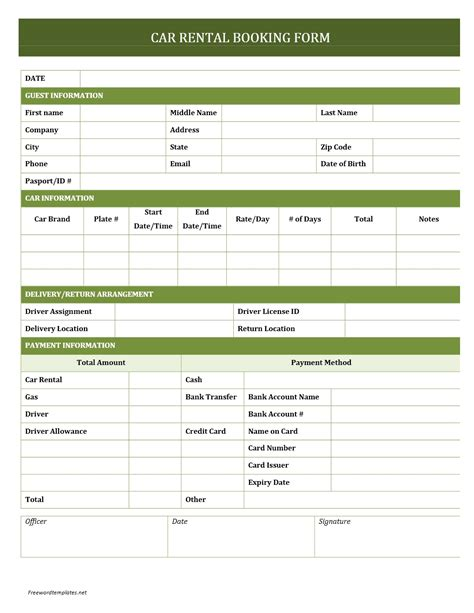 Car Rental Booking Form Entertainment Booking Form Template