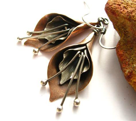 jewelry metal calla earrings mixed metal earrings flower jewelry