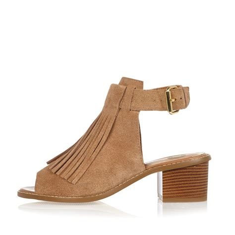 beige heeled sandals lyst river island beige suede fringed block heel sandals