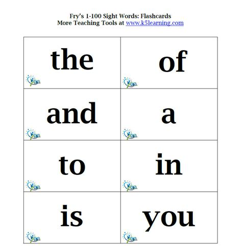 sight word card template grade sight words flash cards printable