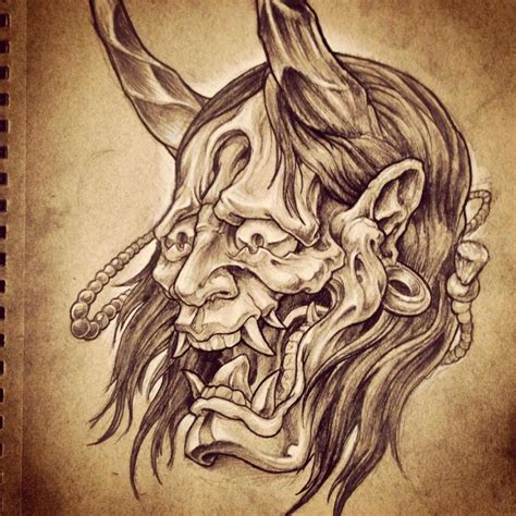 oni mask pencil and white charcoal drawing