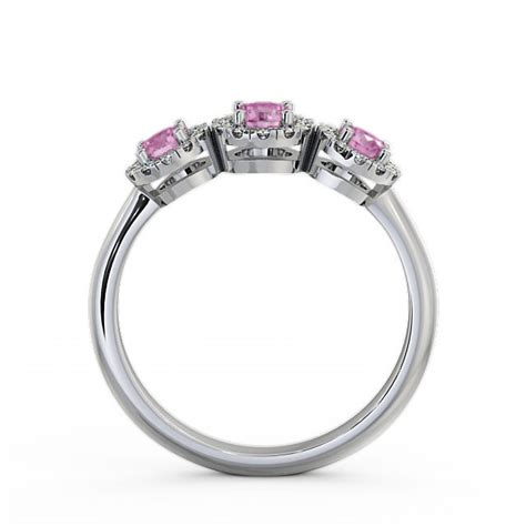 Pink Sapphire 2 64ct three cluster pink sapphire and 0 64ct ring