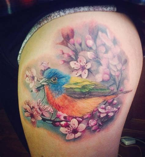 colorful bird amp cherry blossom best tattoo design ideas