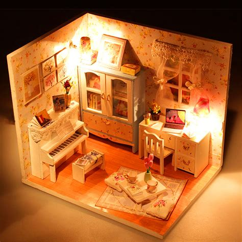dollhouse wood diy wood dollhouse miniature with led furniture cover doll